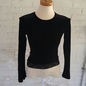Tops - Long sleeve velour and lace blouse